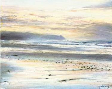 Sunrise Beach Scene 400mm x 510mm, oil on linen