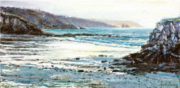 Wintery Showers, Kennack Sands 295mm x 600mm, oil on canvas
